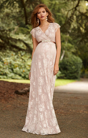 Tiffany Rose Maternity & Nursing Long Gown Eden Blush