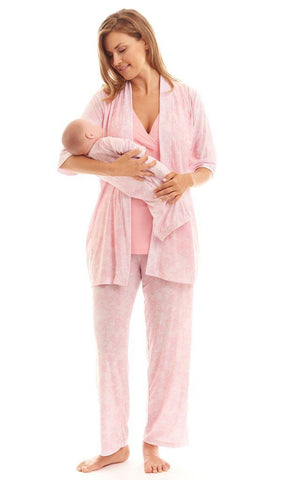 Everly Grey Mom & Baby Maternity & Nursing 5-Piece Set Pink Chantilly, Sleepwear,- Luna Maternity & Nursing