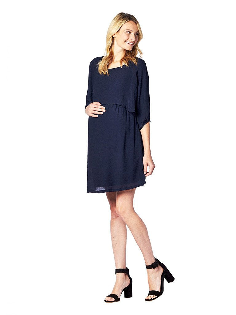 Maternal America Crop Overlay Maternity & Nursing Dress, Maternity Dresses Canada Nursing Dresses Canada,- Luna Maternity & Nursing