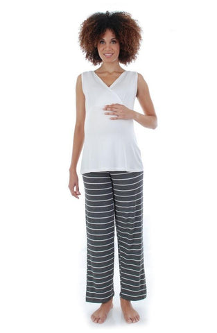 Everly Grey Mom & Baby Maternity & Nursing Set - Charcoal Stripe, Sleepwear,- Luna Maternity & Nursing