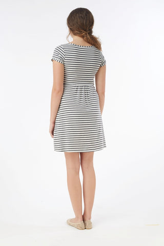 Mothers en Vogue Short Sleeve Striped Nursing Dress, Mississauga Toronto Montreal Alberta BC,- Luna Maternity & Nursing