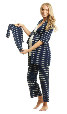 Everly Grey Mom & Baby Maternity & Nursing Set - Navy Stripe, Sleepwear,- Luna Maternity & Nursing