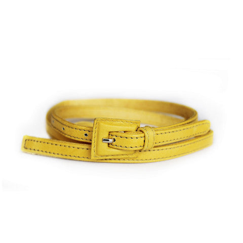 Seraphine Yellow Maternity Leather Skinny Belt, Accessories,- Luna Maternity & Nursing