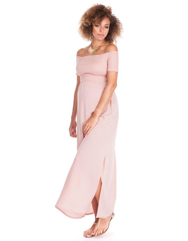 Seraphine Brylee Shirred Off Shoulder Pink Maternity Maxi Dress