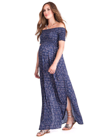 Seraphine Off Shoulder Blue Maternity Maxi Dress Cara, Maternity Dresses Canada Nursing Dresses Canada,- Luna Maternity & Nursing