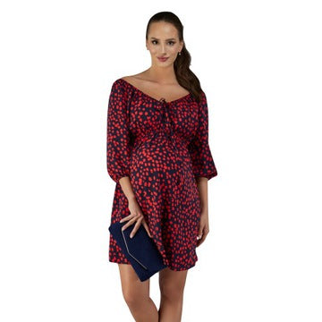 Elpasa Maternity & Nursing Red and Navy Dress Nuria
