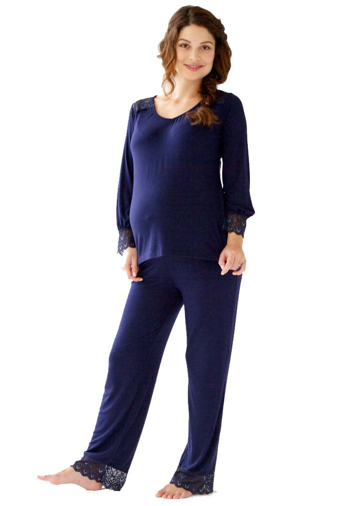 Belabumbum Maternity & Nursing Top & Pant Lounge Set, Sleepwear,- Luna Maternity & Nursing