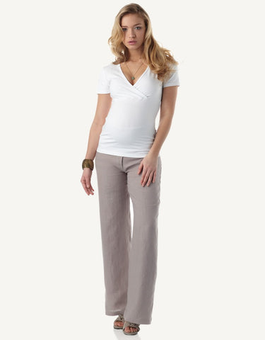 Seraphine Linen Maternity Trousers - Size 2/4, Best Maternity Pants Pregnancy Trousers Toronto Canada Online,- Luna Maternity & Nursing