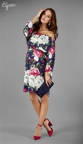 Elpasa Blue and Pink Floral Maternity & Nursing Dress Brenda SALE