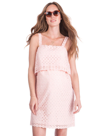 Seraphine Broderie Anglaise Maternity & Nursing Blush Dress Ashley, Maternity Dresses Canada Nursing Dresses Canada,- Luna Maternity & Nursing