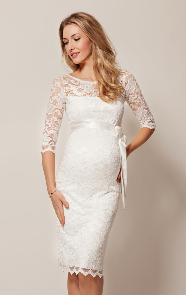 Formal Maternity Dress Canada, Tiffany Rose Amelia Maternity Lace Dress Ivory lunamaternity.com