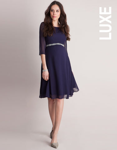 Seraphine Deep Blue Maternity Cocktail Dress-Gisele, Formal Maternity Dresses Toronto GTA Canada,- Luna Maternity & Nursing