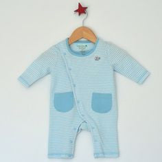 Little Little Organics Blue Stripe Pocket Romper, Babyware,- Luna Maternity & Nursing