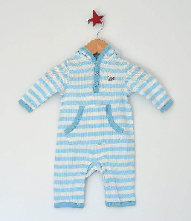 Little Little Organics Blue Stripe Hooded Romper, Babyware,- Luna Maternity & Nursing