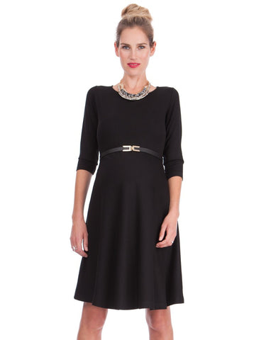 Seraphine 3/4 Sleeve Black Maternity Dress-Vessa, Maternity Dresses Canada Nursing Dresses Canada,- Luna Maternity & Nursing