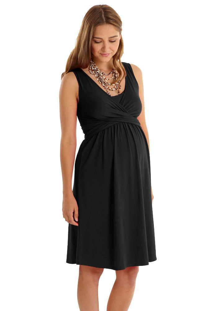Mothers en Vogue Maternity & Nursing Wrap Dress Black, Maternity Dresses Canada Nursing Dresses Canada,- Luna Maternity & Nursing