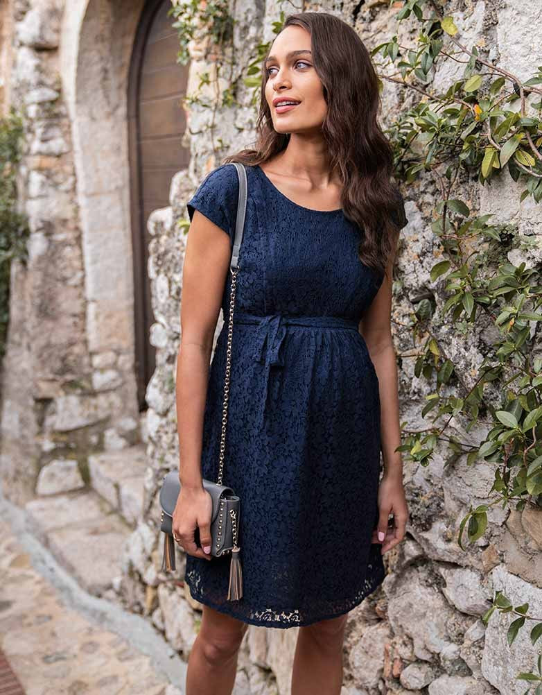 c101bca05ad7e Seraphine Navy Blue Lace Maternity & Nursing Dress Harley