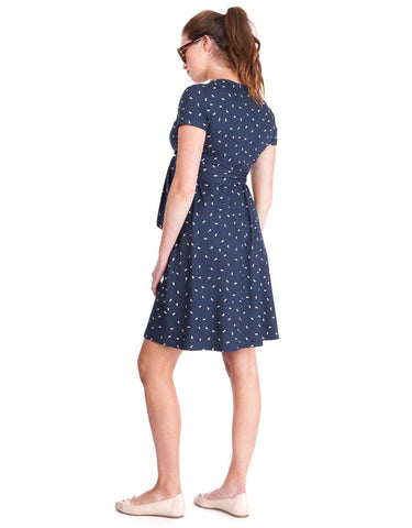 Seraphine Navy Dot Maternity & Nursing Wrap Dress Casey - Size 8, Maternity Dresses Canada Nursing Dresses Canada,- Luna Maternity & Nursing