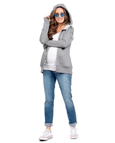 Seraphine Maternity & Nursing & Babywearing 3-in-1 Hoodie Grey Connor