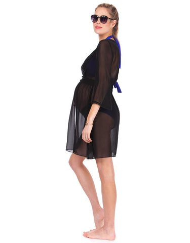 Seraphine Black Maternity Kaftan Swimsuit Cover-Up Martiza, Swimwear,- Luna Maternity & Nursing