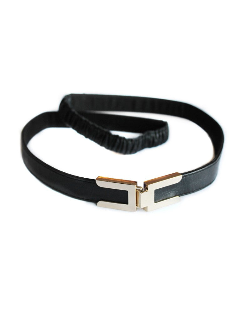Seraphine Maternity Metal Clasp Black Leather Belt, Accessories,- Luna Maternity & Nursing
