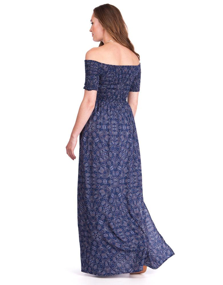 11c10956536 Seraphine Off Shoulder Blue Maternity Maxi Dress Cara