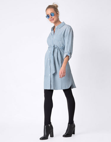 Seraphine Maternity & Nursing Chambray Denim Shirt Dress Justine, Maternity Dresses Canada Nursing Dresses Canada,- Luna Maternity & Nursing