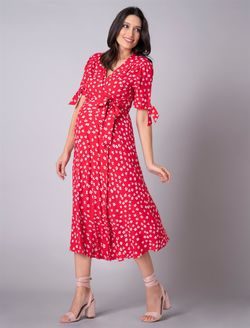 Seraphine Bessie Red Midi Wrap Maternity & Nursing Dress