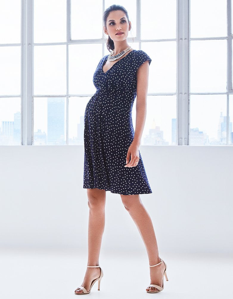 bad2063f5e Buy Seraphine Maternity Navy Dot Dress Cecile