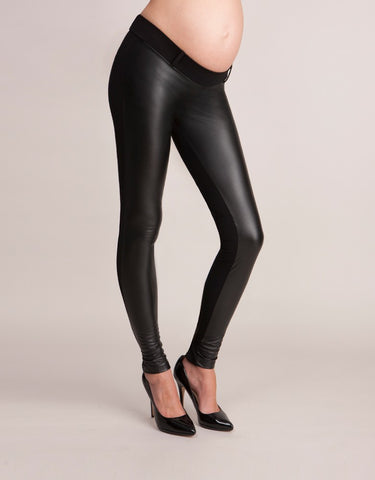 Seraphine Faux Leather Panel Maternity & Post Pregnancy Treggings, Maternity Leggings Toronto Canada Online,- Luna Maternity & Nursing