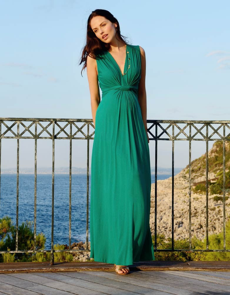 Seraphine Maternity & Nursing Maxi Dress Jo - Emerald