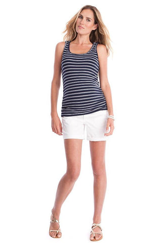 Seraphine Navy Striped Maternity & Nursing Tank Perla, Maternity Tops Nursing Tops Canada,- Luna Maternity & Nursing