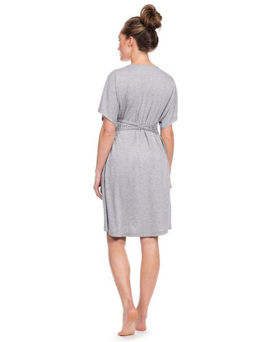 Seraphine Grey Marl Maternity & Nursing Nightie Jaya