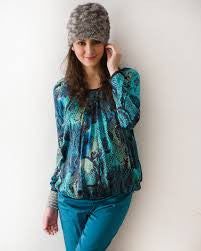 Mothers en Vogue Maternity & Nursing Front Zip Slouchy Top Blue/Green - Size XS/S, Maternity Tops Nursing Tops Canada,- Luna Maternity & Nursing