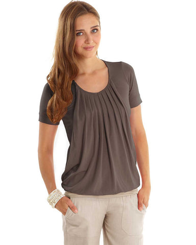 Mothers en Vogue Slouchy Pleated Nursing Top, Maternity Tops Nursing Tops Canada,- Luna Maternity & Nursing