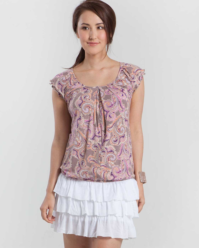 Mothers en Vogue Slouchy Pleated Nursing Top Paisley - Size Small, Maternity Tops Nursing Tops Canada,- Luna Maternity & Nursing