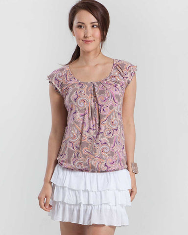 Mothers en Vogue Slouchy Pleated Nursing Top Paisley