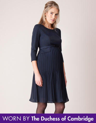 Seraphine Navy Pleated Maternity Dress Sophia - Size 6/8, Formal Maternity Dresses Toronto GTA Canada,- Luna Maternity & Nursing