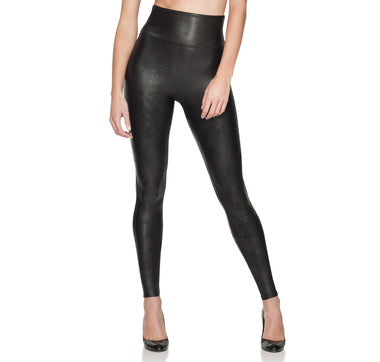 Spanx Post Pregnancy Slimming Faux Leather Leggings Black