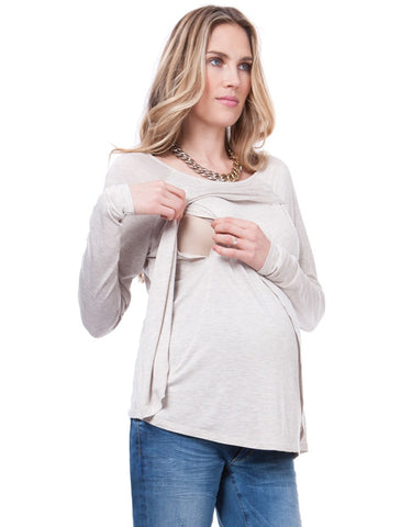Seraphine Maternity & Nursing Draped Top Ilana, Maternity Tops Nursing Tops Canada,- Luna Maternity & Nursing
