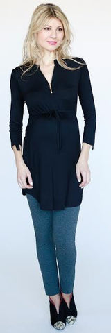 Bellyssima Maternity Zip Tunic - Size XS, Maternity Tops Nursing Tops Canada,- Luna Maternity & Nursing