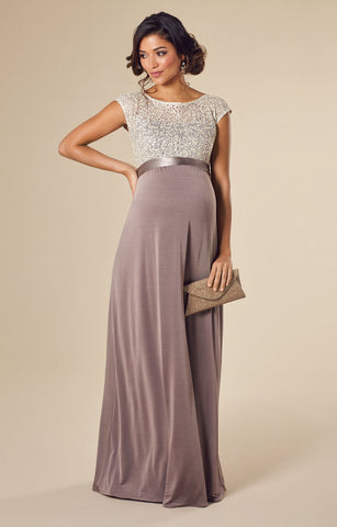 Tiffany Rose Maternity Long Maternity Gown Mia Dusky Truffle