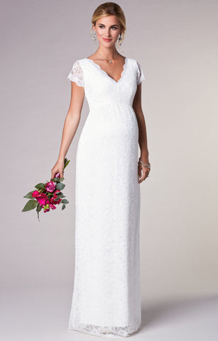 Tiffany Rose Maternity Ivory Lace Long Gown Laura