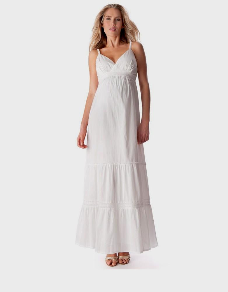 46c5e714b6 White Maternity   Nursing Maxi Dress Melody