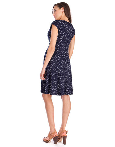 Seraphine Maternity Navy Dot Dress Cecile, Maternity Dresses Canada Nursing Dresses Canada,- Luna Maternity & Nursing