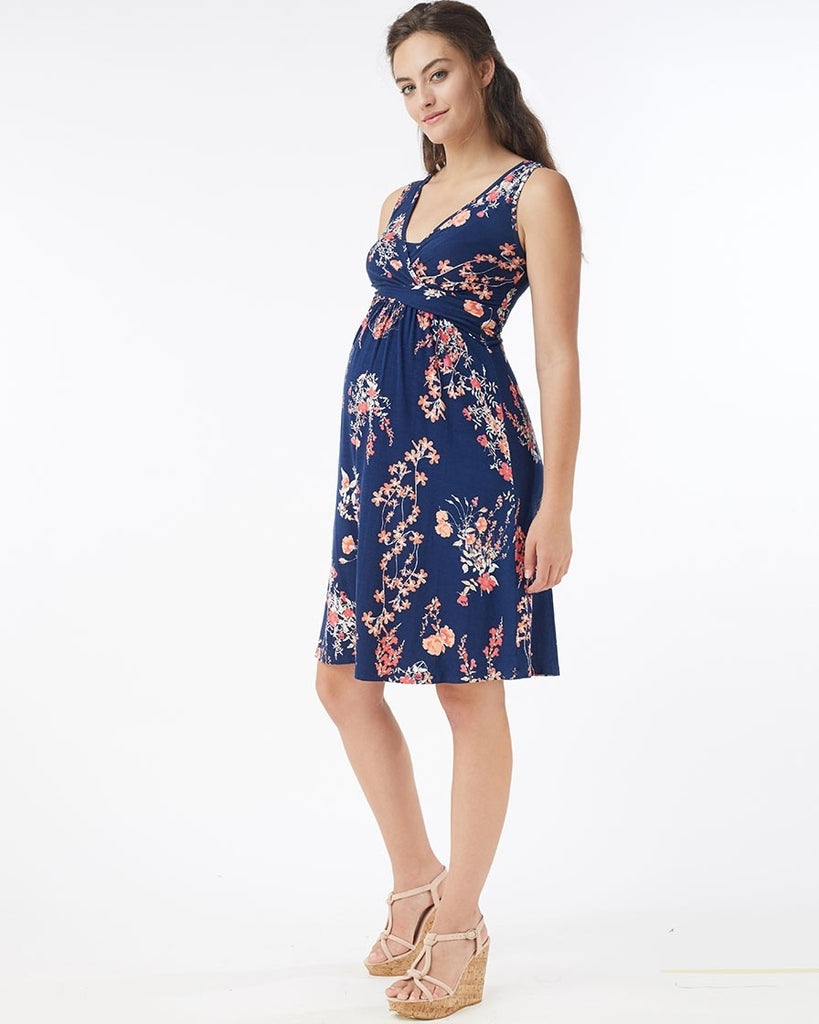 Mothers en Vogue Maternity & Nursing Sleeveless Wild Blossom Wrap Dress, Maternity Dresses Canada Nursing Dresses Canada,- Luna Maternity & Nursing