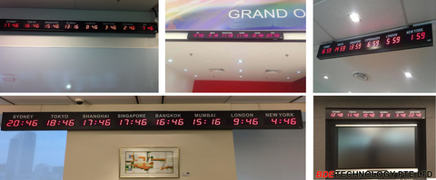 World Timezone Clock displays time according to the country, Digital Timezone Clock,
