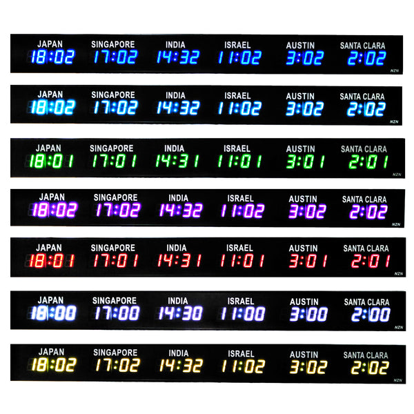 Multi-Colour World Timezone LED Digital Clock