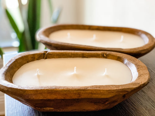 Wooden Dough Bowl 3 Wick Candle