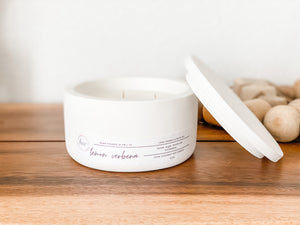 Load image into Gallery viewer, 3 Wick White Concrete Bowl Candle